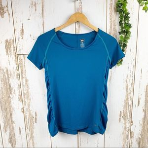 REI Ruched Side Panel Turquoise Blue Sport Tee EUC